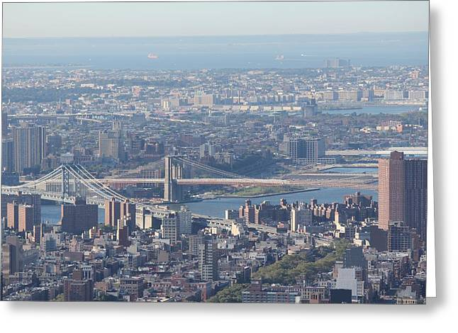 Greeting Card featuring the photograph Manhattan And Brooklyn Bridge by David Grant