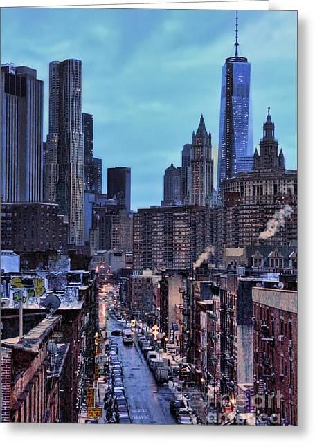 Manhattan At Dawn - Chinatown - World Trade Center Greeting Card by Lee Dos Santos