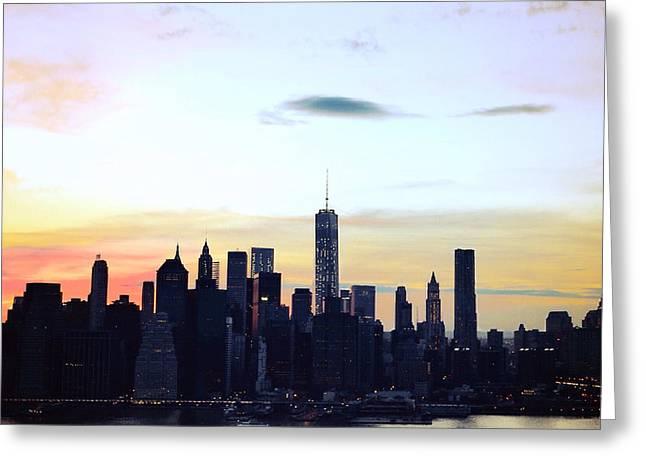 Manhattan At Dusk Greeting Card by Natasha Marco