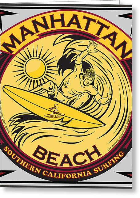 Manhattan Beach California Surfing Greeting Card by Larry Butterworth