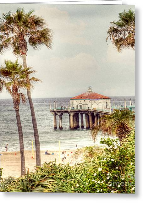 Manhattan Beach Pier Greeting Card by Juli Scalzi