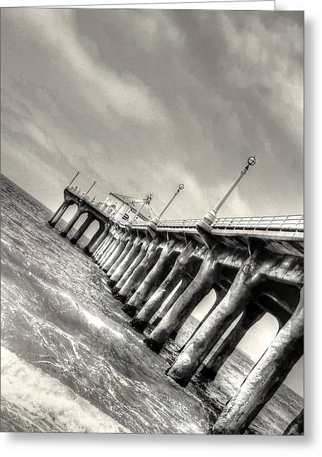 Manhattan Beach Pier - Mike Hope Greeting Card