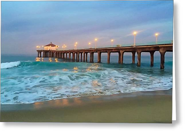 Manhattan Beach Reflections Greeting Card by Art Block Collections