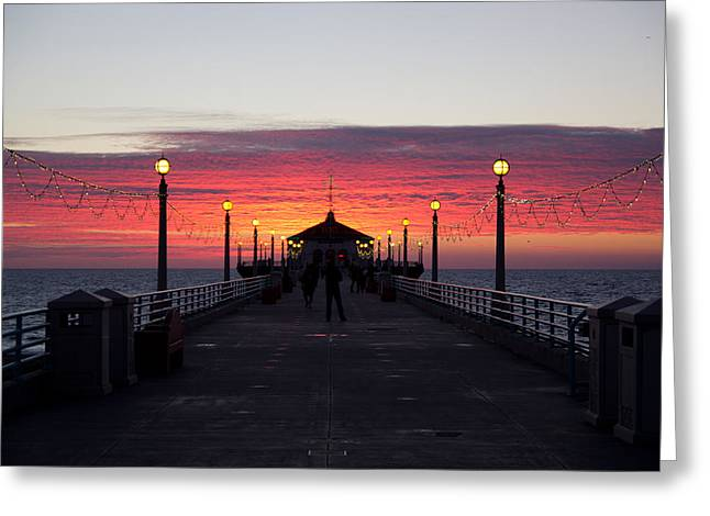 Manhattan Beach Sunset Greeting Card