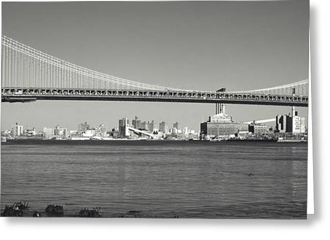 Manhattan Bridge Across The East River Greeting Card by Panoramic Images