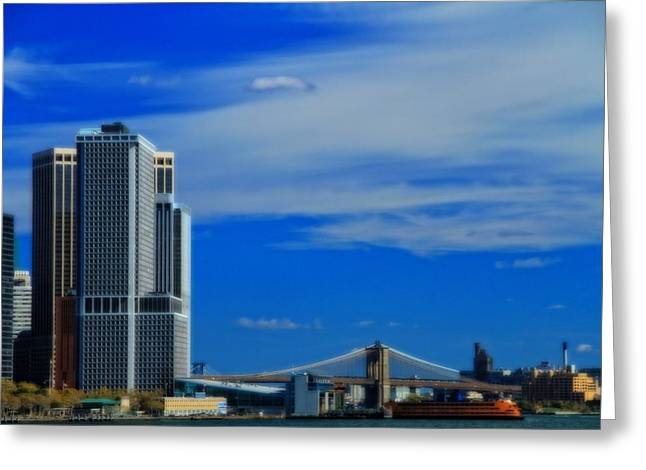Manhattan Bridge And Nyc Skyline From The Harbor Greeting Card