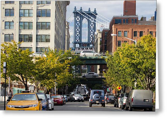 Greeting Card featuring the photograph Manhattan Bridge From Dumbo by Jose Oquendo