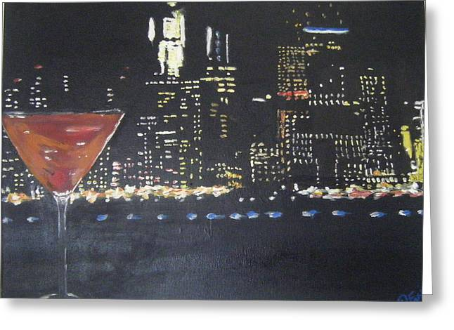 Manhattan Cocktail Greeting Card by Tami Farina