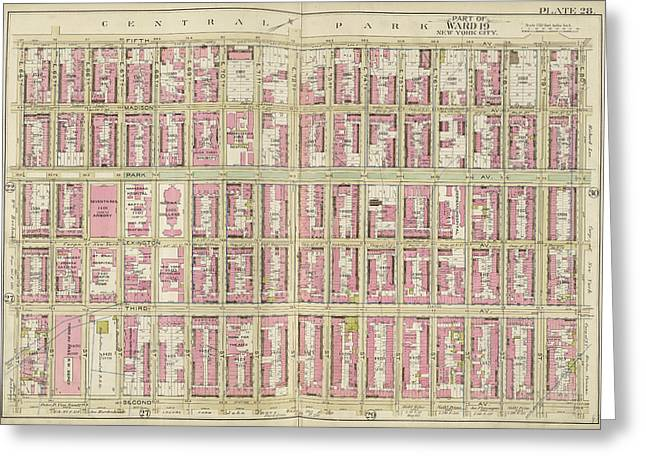 Manhattan, Double Page Plate No. 28 Map Bounded By 5th Ave Greeting Card by Litz Collection