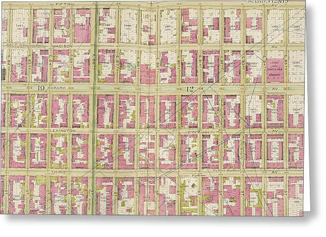 Manhattan, Double Page Plate No. 30 Map Bounded By 5th Ave Greeting Card by Litz Collection