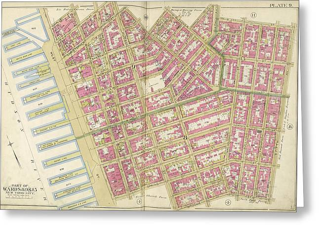 Manhattan, Double Page Plate No. 9 Map Bounded By Charles Greeting Card by Litz Collection