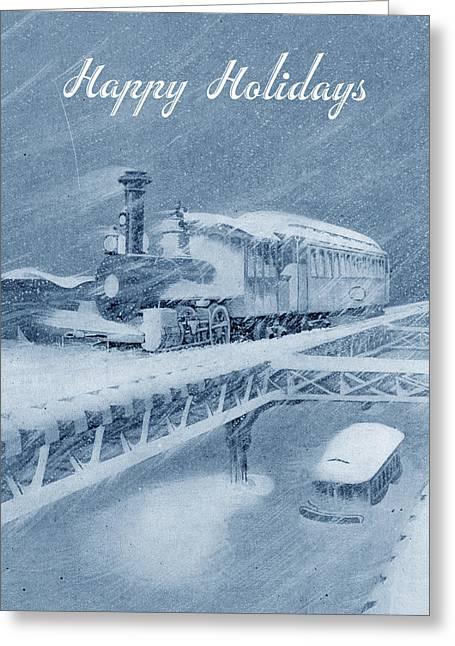 Greeting Card featuring the photograph Manhattan Elevated Holiday Card by Jim Poulos