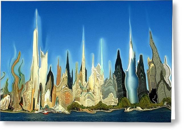 New York City 2100 - Modern Art Greeting Card by Art America Gallery Peter Potter