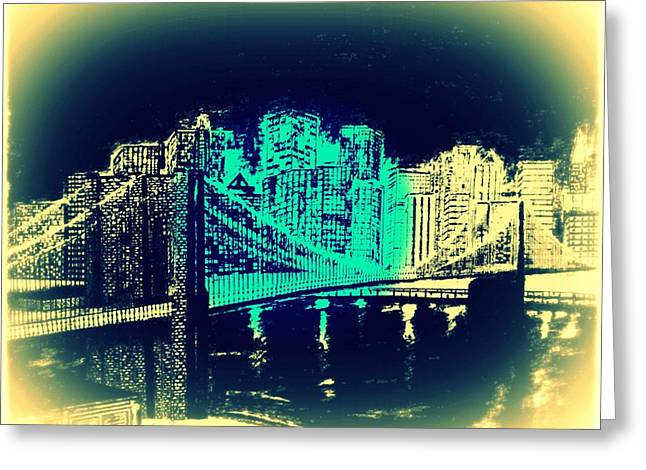 Manhattan In Blue Greeting Card by Irving Starr