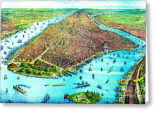 Manhattan Island 1879 Greeting Card by Padre Art