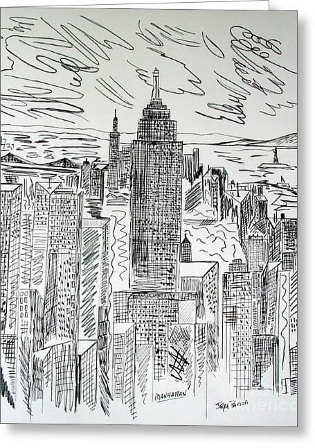 Manhattan Greeting Card by Janice Rae Pariza