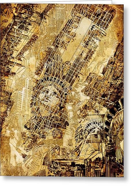 Manhattan Map Antique Greeting Card by Bekim Art
