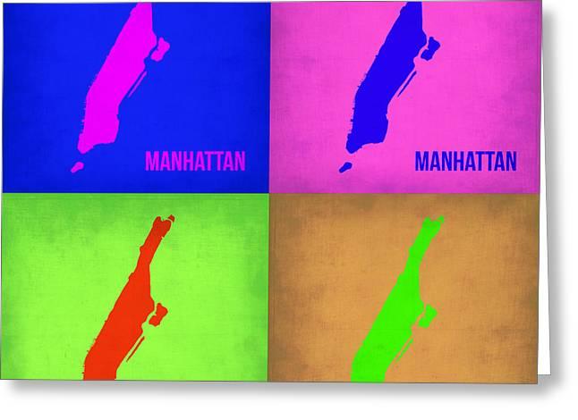 Manhattan Pop Art Map 1 Greeting Card by Naxart Studio