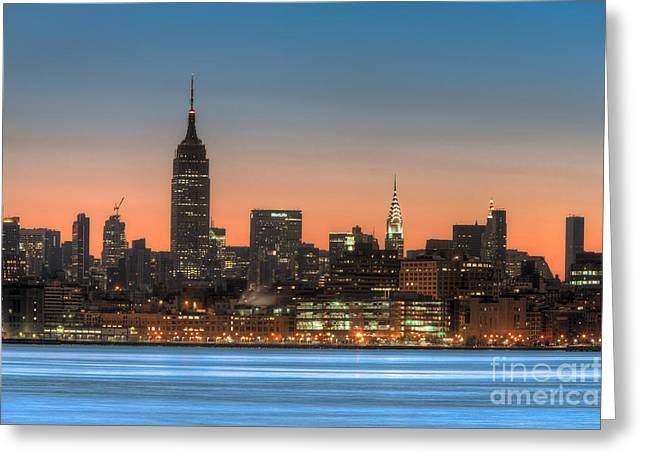 Manhattan Skyline And Pre-sunrise Sky I Greeting Card