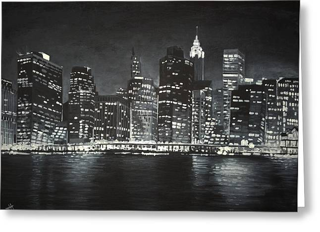 Greeting Card featuring the painting Manhattan Skyline At Night by Jennifer Hotai