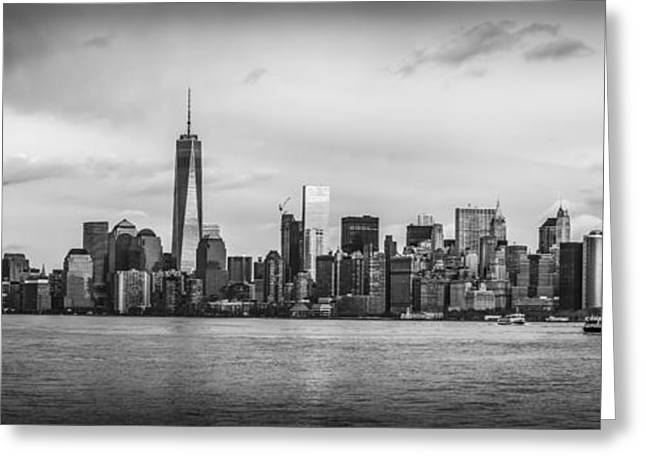 Manhattan Skyline Black And White Greeting Card
