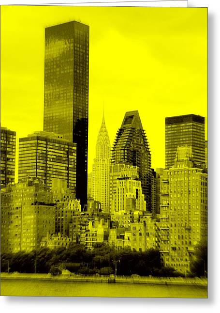 Manhattan Skyline In Yellow Greeting Card