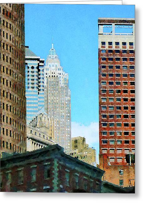 Manhattan Skyscrapers Greeting Card by Susan Savad