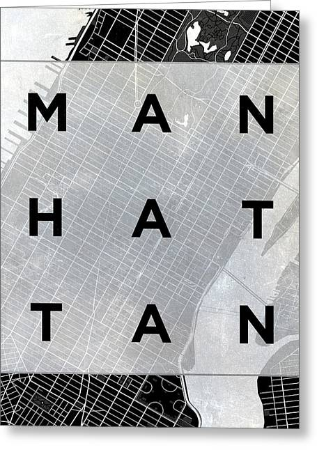 Manhattan Square Bw Greeting Card