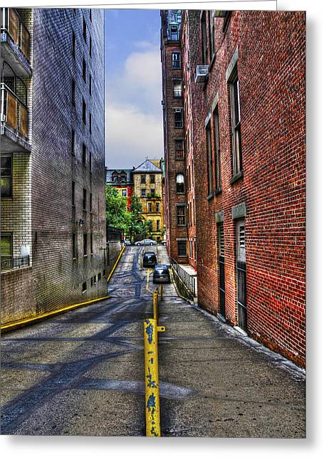Manhattan Theater District Alley Greeting Card by Randy Aveille