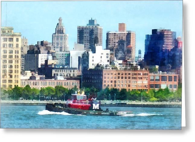 Manhattan - Tugboat Against Manhattan Skyline Greeting Card by Susan Savad