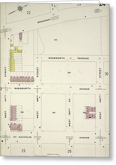 Manhattan, V. 12, Plate No. 24 Map Bounded By Broadway Greeting Card