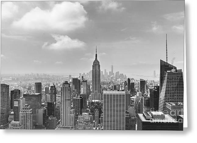 Manhattan View Bw Greeting Card