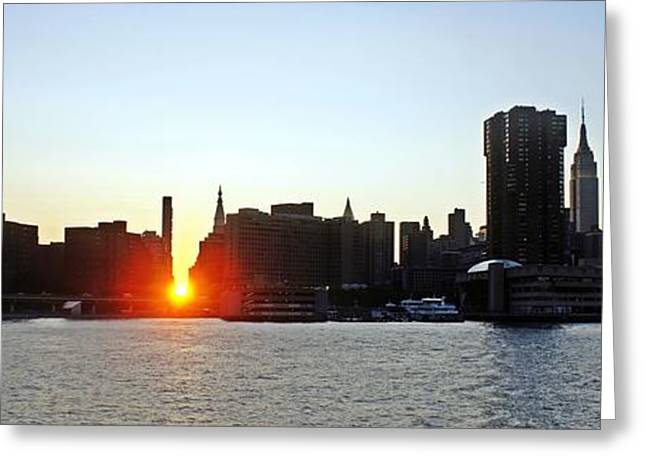 Greeting Card featuring the photograph Manhattanhenge 2011 by Lilliana Mendez