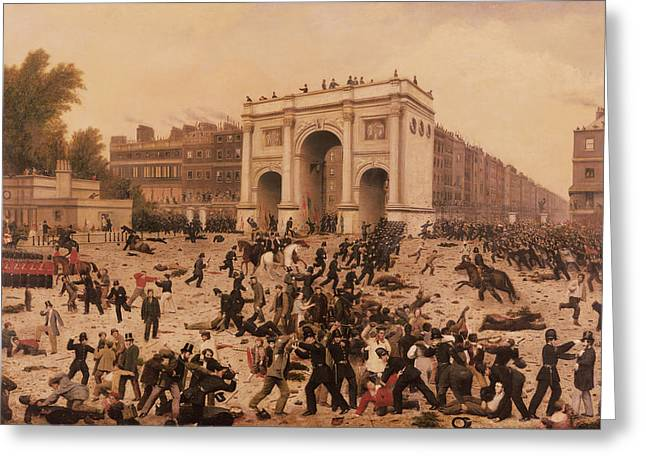 Manhood Suffrage Riots In Hyde Park, 1866 Oil On Canvas Greeting Card by Nathan Hughes