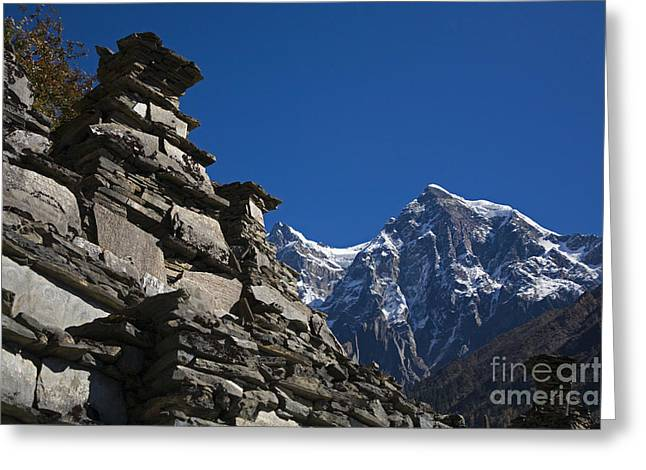 Mani Wall Nupri Area Nepal Greeting Card by Craig Lovell