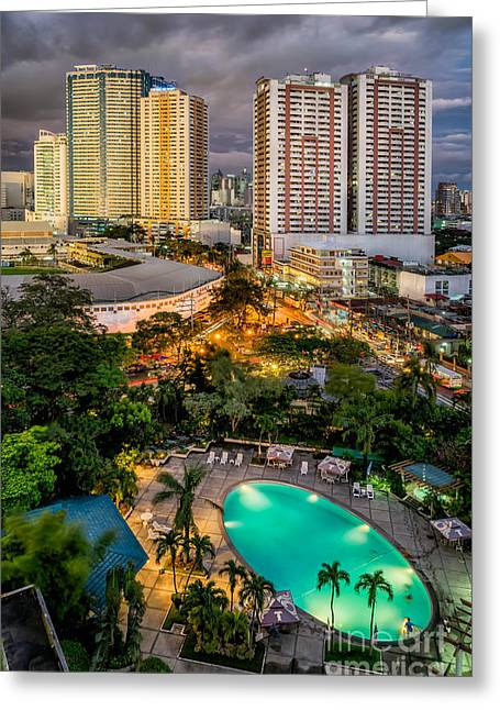 Manila City Greeting Card by Adrian Evans