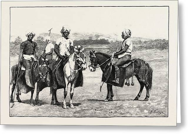 Manipuri Polo-players And Ponies Greeting Card