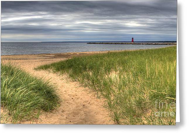 Manistique Beach And Lighthouse Greeting Card