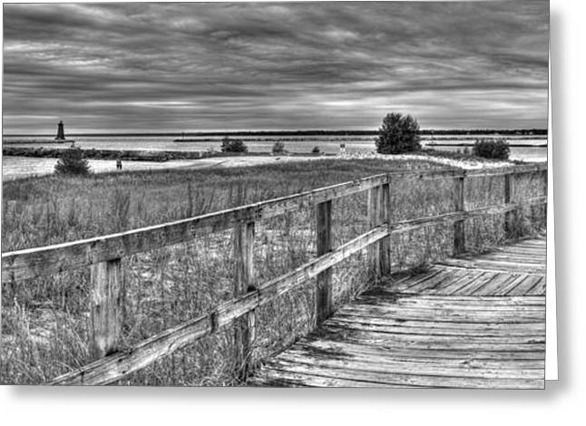 Manistique Beach Pier And Lighthouse Greeting Card