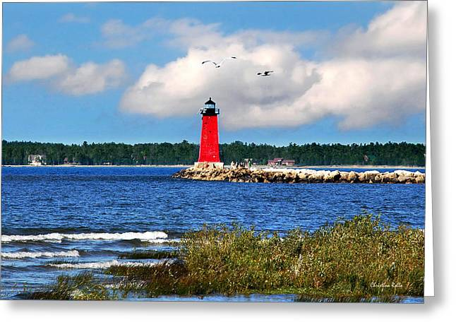 Manistique Lighthouse Greeting Card by Christina Rollo