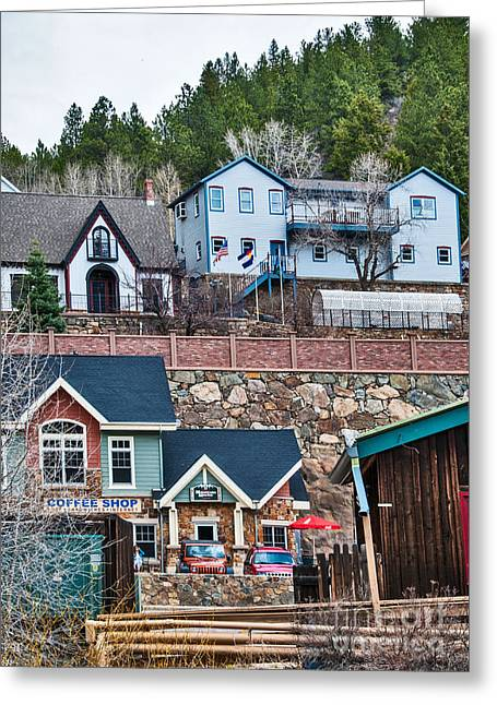 Greeting Card featuring the digital art Manitou Springs Villiage by Mae Wertz