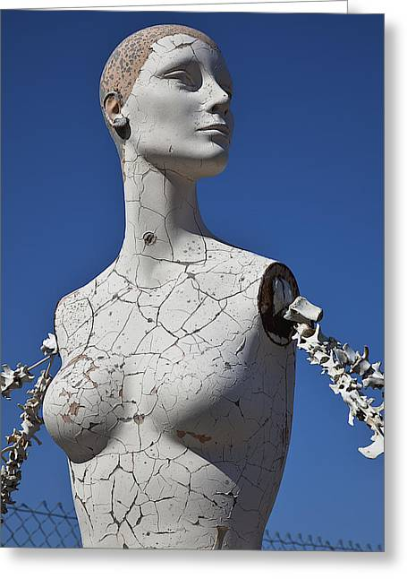 Mannequin Against Blue Sky Greeting Card