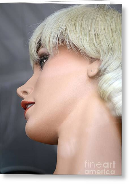Mannequin Art - Blonde Female Mannequin Face  Greeting Card by Kathy Fornal
