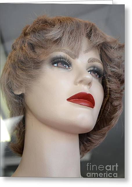 Mannequin Art - Female Mannequin Face With Red Lips Greeting Card by Kathy Fornal