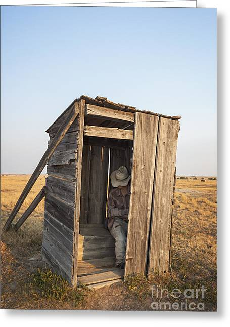 Mannequin Sitting In Old Wooden Outhouse Greeting Card