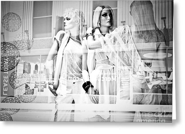 Mannequins In White Greeting Card by Sonja Quintero