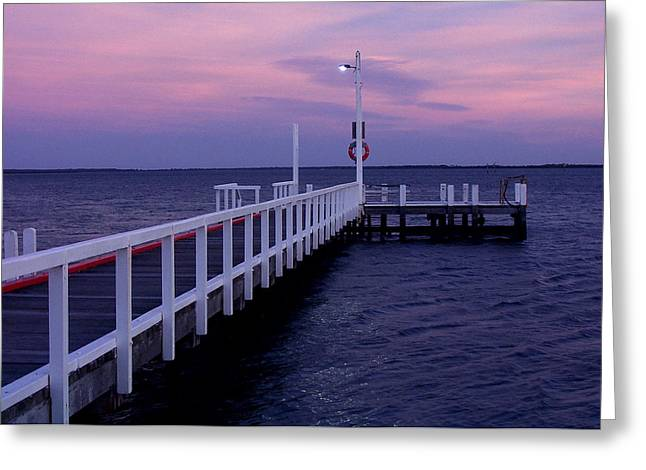 Manns Beach Jetty Greeting Card by Evelyn Tambour