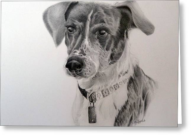 Greeting Card featuring the drawing Man's Best Friend by Lori Ippolito