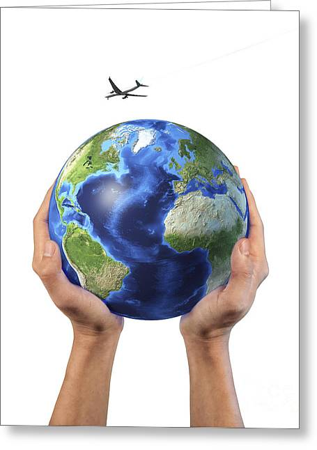 Mans Hands Holding The Planet Earth Greeting Card