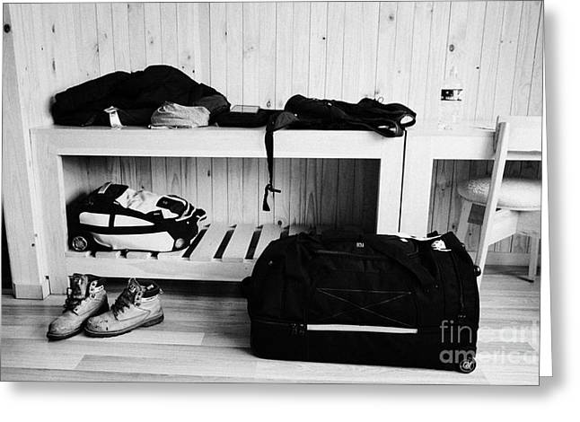 Mans Luggage Piled Up In A Hotel Room Greeting Card by Joe Fox